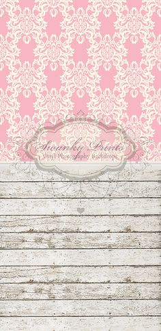 Pink Damask & Cropped Barn Wood - Oz Backdrops and Props
