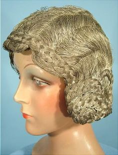 """c. 1920's RARE French Silver Bullion """"Hair"""" Cloche Labeled """"Ideal, PARIS""""! The ULTIMATE Flapper Cloche or Flapper Headpiece! woven with silver bullion threads in the shape of a classic 1920's hairdo... complete with the finger wavy hairs all over, and the pinned up """"longer"""" hair at the back and coiled at the sides in braids"""