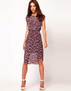 Enlarge Warehouse Floral Dress With Cut Out Back