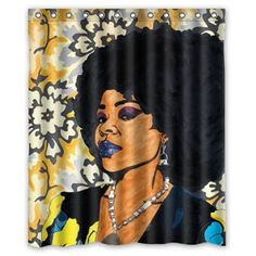 African Black Girl Listening to Music Polyester Fabric Shower Curtain Set Liner
