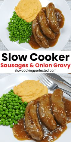 The most perfect onion gravy with juicy beef sausages all cooked in a slow cooker. This slow cooker sausages in onion gravy recipe feature a delicious homemade gravy that you can make just a few simple ingredients. Sausage Casserole Slow Cooker, Slow Cooker Sausage Recipes, Sausage Crockpot, How To Cook Sausage, Pork Recipes, Sausage Meals, Actifry Recipes, Recipies, Quick Recipes
