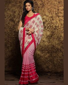 Pink   & Off White smart Embroidered Viscose and Satin latest trendy Sarees       Fabric:   Viscose and Satin       Work:   Embroidered       Type:   latest trendy Sarees       Color:   Pink & Off White                 Fabric Blouse   Dupion