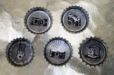 Antique and Classic Cameras Bottle Cap Magnet Set of 5 by thumbprintz on Etsy