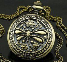 Vintage Bronze Dragonfly Pocket Watch Necklace