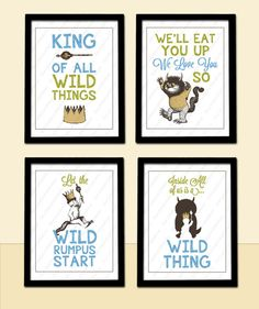 Where The Wild Things Are Wall Art - 4 Poster Prints in any size, Wild Rumpus, King - Baby Child Kid Nursery Room Decoration