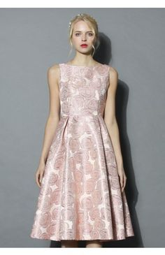 Fanciful Rose Intarsia Prom Dress in Pink - Dress - Retro, Indie and Unique Fashion