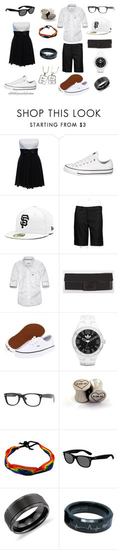 """""""Untitled #102"""" by ohhhifyouonlyknew ❤ liked on Polyvore featuring Jane Norman, Converse, Abercrombie & Fitch, Vans, adidas, Ray-Ban, Blue Nile, black and white, matching and hard femme"""