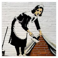 banksy's maid - formerly outside chalk farm tube, painted over by the council.. where is it now?