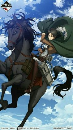 Levi looks so tall... ( with worms eye view, and a  horse/Jean)