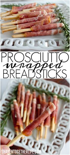 Prosciutto Wrapped Breadsticks are the ultimate easy party appetizer! Two ingredients and done in 5 minutes, these are a sure fire crowd pleaser!