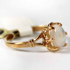 Vintage 1970s Genuine Jelly Opal Solitaire Ring 18k Gold Electroplated October Birthstone Made in USA #R555 on Etsy, $40.00