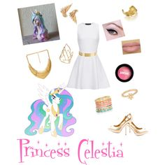 Princess Celestia from my little pony by zamantha-palazuelos on Polyvore featuring polyvore, fashion, style, Proenza Schouler, Sam Edelman, Jessica Robinson, Lele Sadoughi, Alexis Bittar, LeiVanKash, Accessorize, Forever 21, jane and TIARA