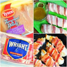 Bacon Wrapped Chicken Strips - Will Cook For Smiles Delicious Vegan Recipes, Snack Recipes, Cooking Recipes, Dinner Recipes, Tasty, Chicken Breast Recipes Healthy, Chicken Recipes, Chicken Ideas, Tyson Chicken