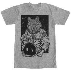 Lost Gods Cat Astronaut Space Galaxy Mens Graphic T Shirt