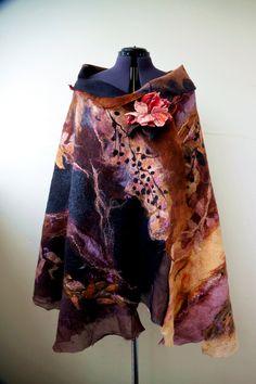 "Nuno felted varicolored scarf shawl poncho felting wool luxury floral romantic tippet stole with roses ""Blues autumn colors"" Nuno Felt Scarf, Wool Scarf, Felted Scarf, Large Scarf, Glamour, Turbans, Nuno Felting, Felt Fabric, Elegant"