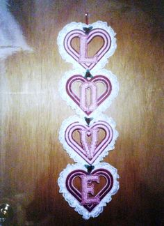 Love Heart Wall Hanging Needlepoint Plastic Canvas on Etsy, $20.00