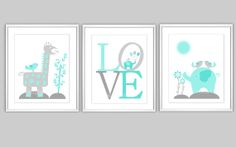 Baby Nursery Wall Art Teal Aqua Gray LOVE Elephant Giraffe Jungle Flowers Nursery Prints Nursery Decor Baby Decor Baby Prints 3 PRINT SET