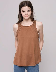 Pull&Bear - woman - t-shirts and tops - sleeveless faux suede cut work t-shirt - ochre - 09238380-I2015