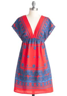How Do You Do? Dress - Print, Casual, Red, Blue, Nautical, Empire, Short Sleeves, Summer, Mid-length
