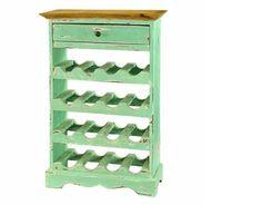 Vintage Wine Cabinet holder Storage Rustic Refurbished Rack Furniture Kitchen
