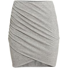 H&M Draped skirt ($13) ❤ liked on Polyvore featuring skirts, mini skirts, bottoms, grey, cotton wrap skirt, grey skirt, wrap around skirt, jersey wrap skirt and grey mini skirt