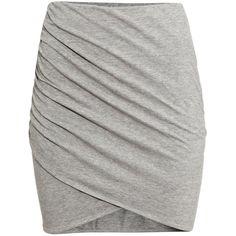 H&M Draped skirt ($13) ❤ liked on Polyvore featuring skirts, mini skirts, bottoms, grey, cotton wrap skirt, grey skirt, wrap around skirt, jersey wrap skirt and grey mini skirt