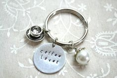 Coffee Keychain Coffee Lover Gift Coffee Addict by BeautyInBaubles