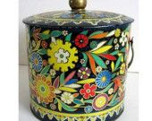 black tin...I love tin boxes and canisters!
