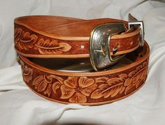 Hand Tooled Leather Belt by Lone Tree Leather Works