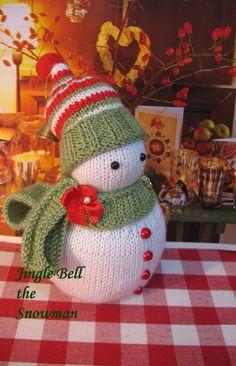 ♡ Jingle Bell the Snowman Hand knitted snowman by dollsandbunnies