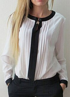 White Contrast Collar Pleated Chiffon Blouse // cuello media polera con cierre al frente