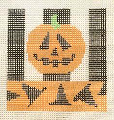 Pumpkin,  Witch Hats -- Beth Gantz needlepoint canvas.  On 10 mesh - fun project for beginners...