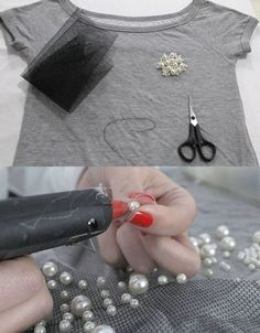 DIY 10 ideas on how to customize old blouses - how to customize old blouses Informations About DIY 10 ideias de como customizar blusas velhas Pin Y - Diy Lace Up Shirt, T Shirt Diy, Clothes Crafts, Sewing Clothes, Sewing Hacks, Sewing Projects, Motifs Perler, Shirt Makeover, Diy Fashion Accessories