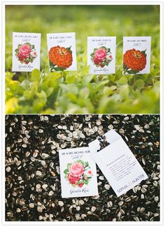 For the nature-loving couple: Seed packet escort cards. Both beautiful and environmentally friendly!