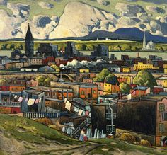 Paysage à Hochelaga, v. 1931 Marc-Aurèle Fortin  Canada, 1888 - 1970  huile sur carton fort 80,8 x 85,4 cm Legs de Vincent Massey, 1968 Musée des beaux-arts du Canada (nº 15475) Canadian Painters, Canadian Artists, Watercolor Landscape, Landscape Art, Montreal Museums, Culture Art, National Art, Guache, Naive Art