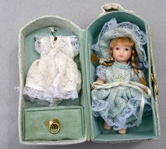 Vintage Porcelain Doll in Carrying Case by HighClassHighway, $32.00