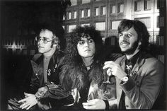 Elton John Marc Bolan and Ringo Starr in London in1973 at a party after the premiere of Born to Boogie, Marcs film directed by Ringo