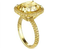 De Beers: Fancy Yellow Micropavé Aura Ring with Fancy Yellow Cushion-Cut Solitaire