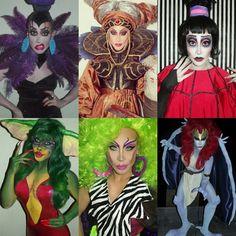 Phi Phi Ohara.  Left to right: Yzma, Rita Repulsa, Lydia Deetz, Greta Gremlin, Pizzazz, Demona #cosplay #dragqueen