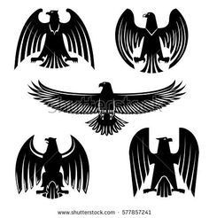 Black eagle, hawk or falcon heraldic symbol set. Flying and standing wild  birds silhouettes