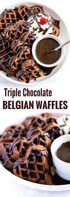 Decadent TRIPLE CHOCOLATE BELGIAN WAFFLES are perfect for breakfast brunch or dessert! Made with cocoa mini chocolate chips and drizzled with thick chocolate syrup these beautiful waffles are meant to be shared and savored with the one you love. Chocolate Chip Waffle Recipe, Chocolate Waffles, Chocolate Syrup, Chocolate Chips, Belgian Chocolate, Chocolate Recipes, Potluck Recipes, Waffle Recipes, Dessert Recipes