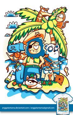 Animal Pirates by anggatantama Character Illustration, Illustration Art, Cool Doodles, Graffiti Designs, Doodle Coloring, Affinity Designer, Animal Paintings, Vector Design, Doodle Art