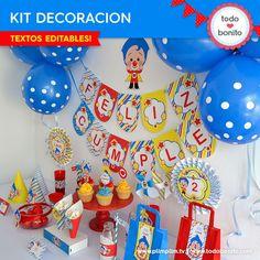 Plim Plim: decoración de fiesta para imprimir Circus Birthday, Birthday Cake, Birthday Ideas, Creativity, Fiestas, Free Downloads, Clowns, Cards, Bebe