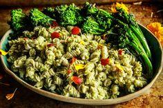 Roasted Broccoli Pesto Pasta- Vegan and Gluten-Free - Heather Christo
