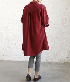 """【Fabric】  Linen, cotton 【Color】 Pale pink, white, Red wine, dark blue   【Size】 Shoulder 40cm / 16 """" Bust 114cm / 44 """" Sleeve 60cm / 23 """" Arm circumference 42cm / 16 """" Cuff... #blouse #malieb"""