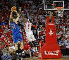 17-year veteran Dirk Nowtizki fades to create space for a Jumper in the 2015 #NBAPlayoffs.  #ROCKETSvMAVS