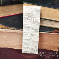 Shakespeare's The Winter's Tale Book Page Bookmark