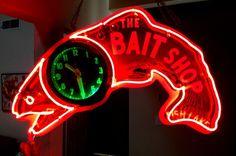 BAIT SHOP NEON CLOCK SIGN