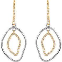 14K Yellow & Sterling Silver 3/8 CTW Diamond Dangle Earrings