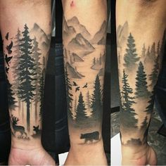 Black And Grey Forest Tattoo On Forearm